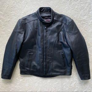 River Road men's black leather motorcycle coat 46